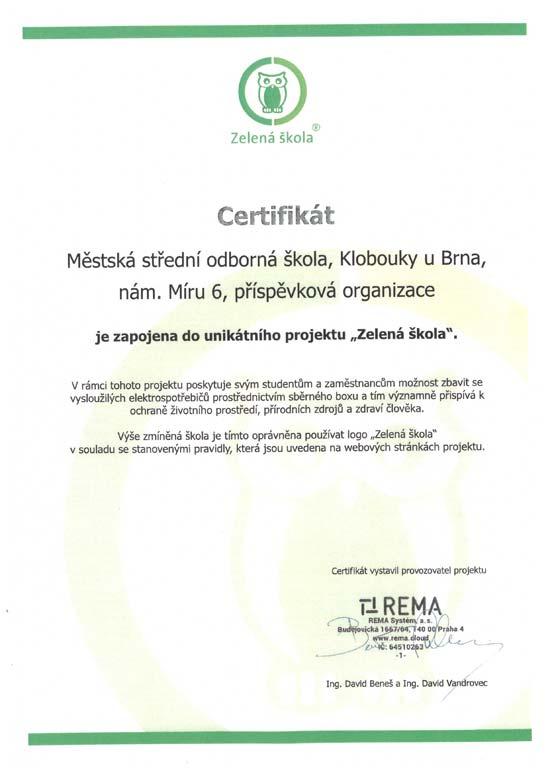 Certifikát Zelená škola
